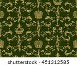 royal crown seamless pattern... | Shutterstock .eps vector #451312585