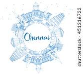 outline chennai skyline with... | Shutterstock .eps vector #451316722