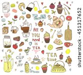 hand drawn tea time collection. ... | Shutterstock .eps vector #451317652