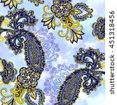 seamless pattern with blue... | Shutterstock . vector #451318456