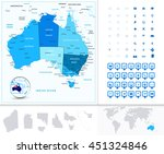australia map in colors of blue ... | Shutterstock .eps vector #451324846