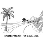 sea coast road graphic art... | Shutterstock .eps vector #451333606