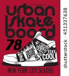 skater  sneakers graphic design ... | Shutterstock .eps vector #451337638