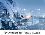 double exposure of businessmen... | Shutterstock . vector #451346386