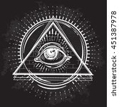 vector all seeing eye pyramid... | Shutterstock .eps vector #451387978