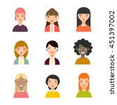set of diverse women avatars.... | Shutterstock .eps vector #451397002