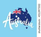 australia brush lettering. map... | Shutterstock .eps vector #451397332
