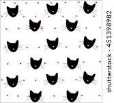 Stock vector cat pattern hearts pattern vector illustration 451398982