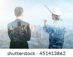 engineer and businessman... | Shutterstock . vector #451413862