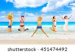jumping wild flying beauties  | Shutterstock . vector #451474492