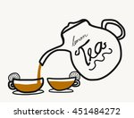 teapot and cup illustration | Shutterstock . vector #451484272
