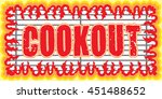 cookout with flames design is... | Shutterstock . vector #451488652