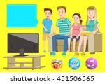 family watching television... | Shutterstock .eps vector #451506565