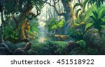 fantasy forest background... | Shutterstock . vector #451518922