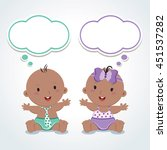 twins. cute babies with... | Shutterstock .eps vector #451537282