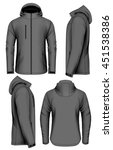 men softshell jacket with hood... | Shutterstock .eps vector #451538386