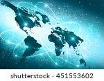 world map on a technological... | Shutterstock . vector #451553602