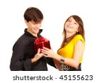 girl give gift to man on day valentine - stock photo