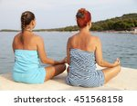 two wome  mother and daughter... | Shutterstock . vector #451568158
