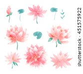 watercolor floral set with pink ... | Shutterstock . vector #451575922