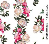 Stock photo seamless floral pattern white and pink peonies on a white background with a band of flowers 451584622