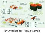 promotional poster. sushi menu  ... | Shutterstock .eps vector #451593985