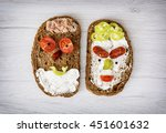 two funny faces made of bread ... | Shutterstock . vector #451601632