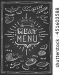 retro meat menu icons on... | Shutterstock . vector #451603588