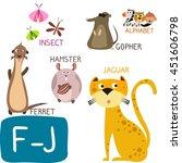animal zoo alphabet. letter f j.... | Shutterstock .eps vector #451606798