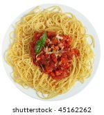 Close-up vertical view of Spaghetti al Pomodoro - spaghetti with tomato and vegetable sauce, topped with grated parmesan - a traditional Italian dish. - stock photo