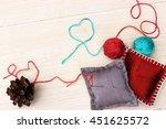 handmade red silk needle...   Shutterstock . vector #451625572