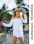 Girl Dress Sea Beach Hat