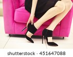 woman in stylish shoes on pink... | Shutterstock . vector #451647088