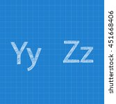 sketched letters y z on... | Shutterstock .eps vector #451668406