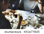 cafe coffee enjoyment happiness ... | Shutterstock . vector #451677835