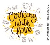 quote cooking with love. the... | Shutterstock .eps vector #451680772