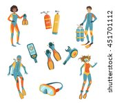 people  scuba diving and free...   Shutterstock .eps vector #451701112