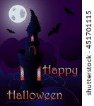 halloween background with... | Shutterstock . vector #451701115
