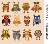 cartoon colorful owls and... | Shutterstock .eps vector #451702078