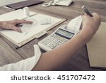 retro image of accountant or... | Shutterstock . vector #451707472