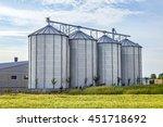 Four Silver Silos In Corn Fiel...