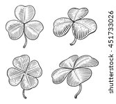 clover leaf engraving style... | Shutterstock .eps vector #451733026