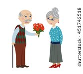 grandpa gives flowers... | Shutterstock .eps vector #451742518