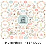 floral hand drawn vintage set.... | Shutterstock .eps vector #451747396