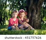 young children with raspberries ...   Shutterstock . vector #451757626