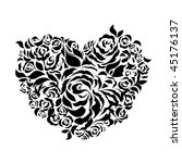 abstract floral heart silhouette (JPG version) - stock photo