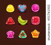 set of bright colorful glossy...