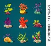 set of cartoon algae  elements...