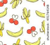 seamless pattern of cherries...   Shutterstock .eps vector #451764148