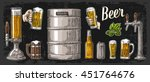 beer set with two hands holding ... | Shutterstock .eps vector #451764676